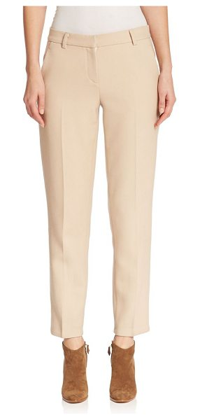 DKNY Narrow wool pants in buff - Crisply tailored, these sleek wool pants will be an...