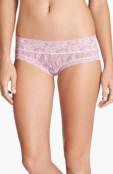 DKNY signature lace bikini in pink bliss - Sheer lace in two different floral patterns defines a...
