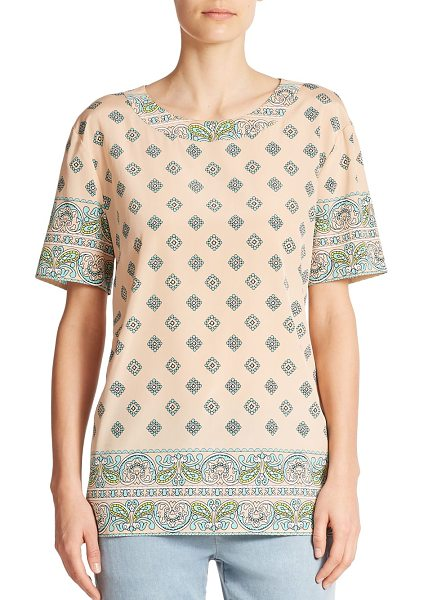 DKNY Silk paisley tee in pale-powder - A feminine mixed paisley print casts a graphic twist on...