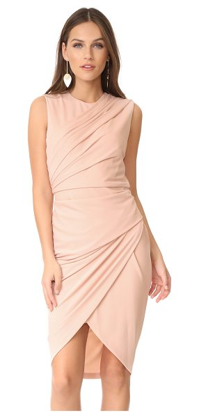 DKNY sleeveless dress in blush - Pleats create textured wraparound panels on this...
