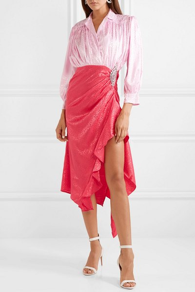 DODO BAR OR crystal-embellished ruched satin-jacquard dress in baby pink - Dodo Bar Or's feminine midi dress is cut from...