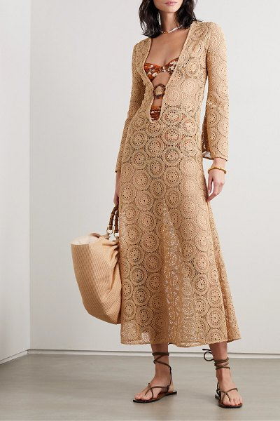 DODO BAR OR jane embellished crocheted cotton maxi dress in sand