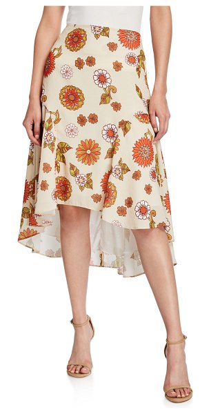 DODO BAR OR Kathy Floral-Print High-Low Skirt in beige
