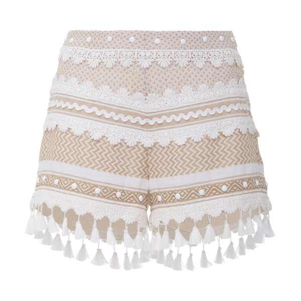 DODO BAR OR Moav Tassel Shorts in khaki - Artful embroidery and geometric prints elevate this Moav...