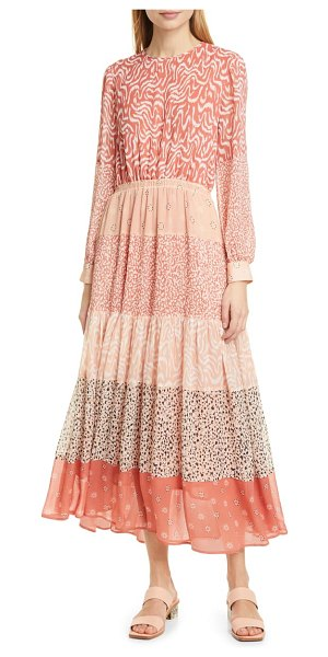 dolan jodie mixed print long sleeve dress in pink