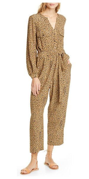 dolan neela cheetah print long sleeve jumpsuit in brown