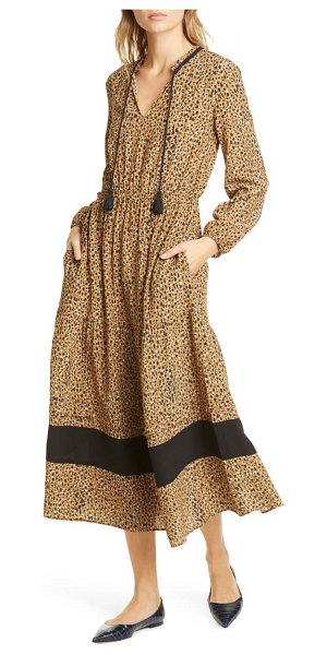 dolan sabine cheetah print long sleeve midi dress in brown