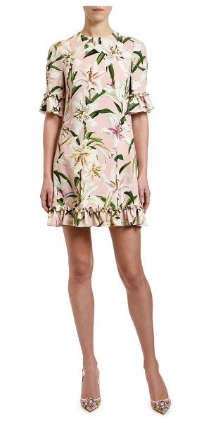 Dolce & Gabbana 1/2-Sleeve Lily-Print Ruffled Cady Dress in pink pattern