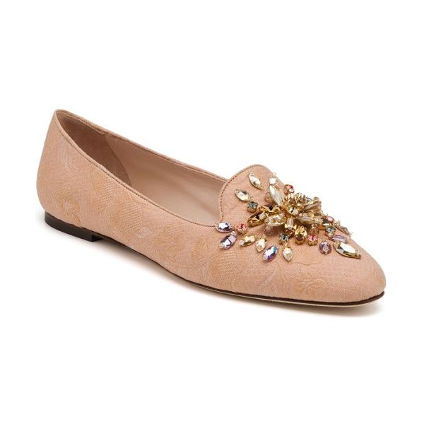 Dolce & Gabbana Bejeweled jacquard loafers in pink - Instantly elevate any look with an air of regal chic by...