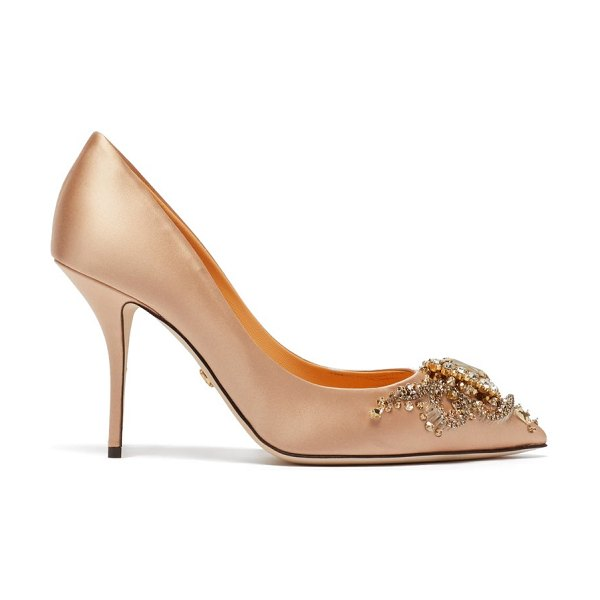 Dolce & Gabbana cardinale crystal-embellished satin pumps in nude