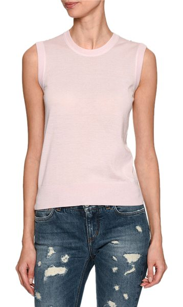 Dolce & Gabbana Cashmere Crewneck Shell Sweater in light pink - Dolce & Gabbana shell sweater. Finely ribbed neckline,...