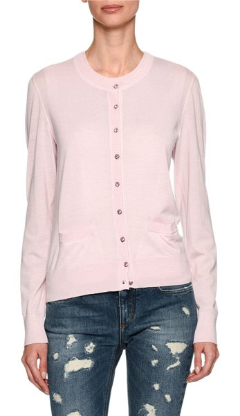 Dolce & Gabbana Cashmere Jewel-Button Cardigan in light pink - Dolce & Gabbana cardigan sweater with jewel buttons....