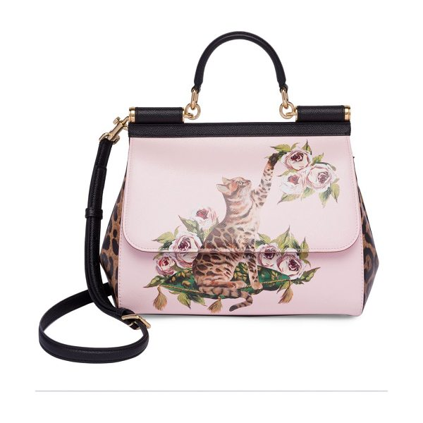Dolce & Gabbana cat & floral leather top-handle bag in pink - Statement-making bag sports cat and floral prints. Top...