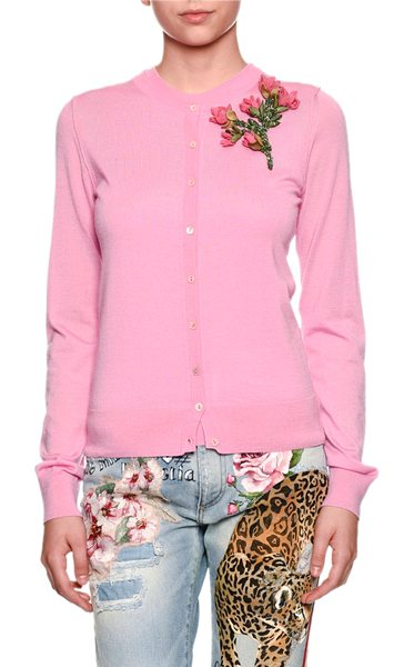 Dolce & Gabbana Crewneck Button-Front Cashmere Cardigan w/ Rose Patch in medium pink - Dolce & Gabbana cardigan with rose-embroidered applique....