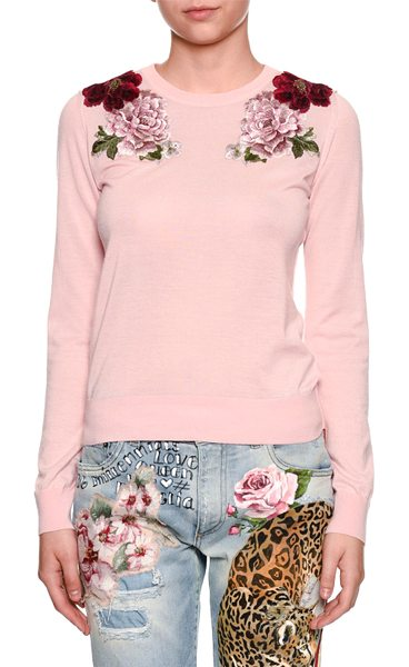 Dolce & Gabbana Crewneck Long-Sleeve Cashmere Sweater w/ Rose Applique in light pink - Dolce & Gabbana cashmere sweater with rose appliques....