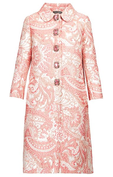 Dolce & Gabbana crystal button paisley brocade coat in pink white