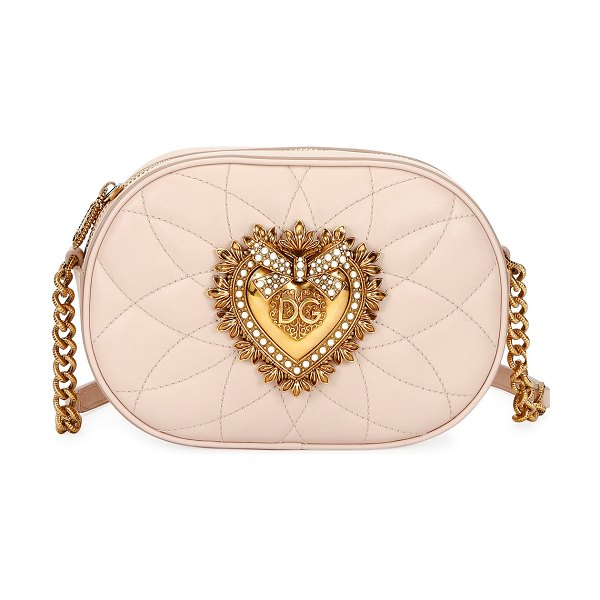 Dolce & Gabbana Devotion Leather Camera Bag with Heart Medallion in light pink