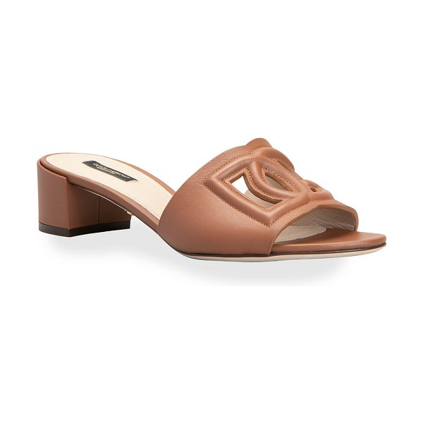 Dolce & Gabbana DG Cutout Leather Slide Sandals in brown