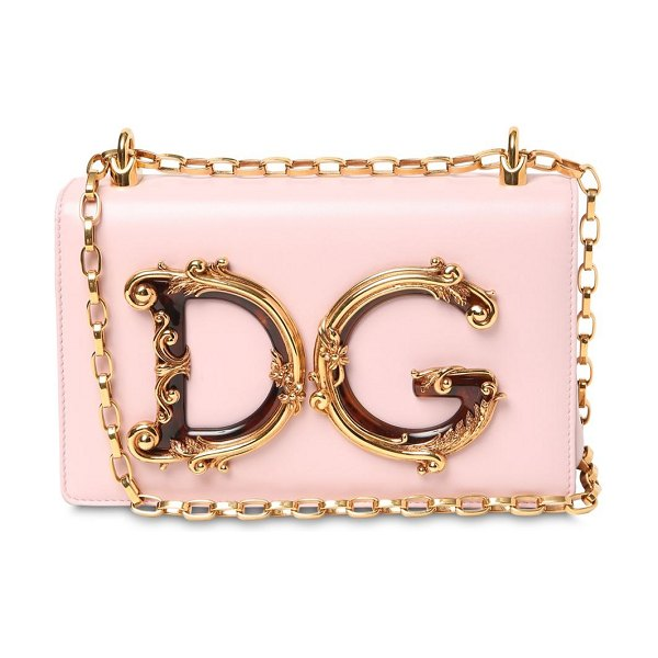Dolce & Gabbana Dg girls barocco leather shoulder bag in light pink - Height: 14cm Width: 21cm Depth: 6cm. Metal chain...