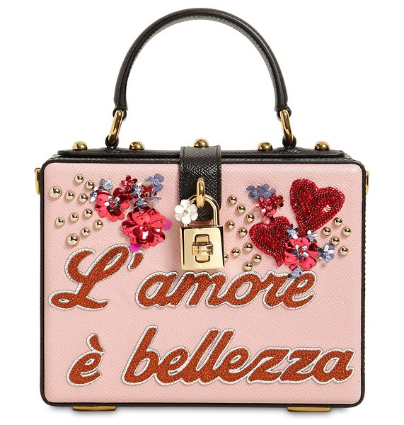 DOLCE & GABBANA Dolce box l'amore è bellezza leather bag in pink - Height: 18cm Width: 26cm Depth: 9cm. Detachable leather...