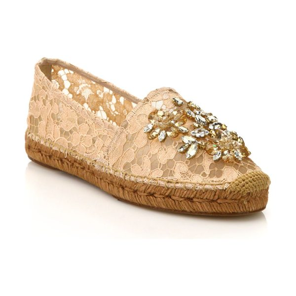 Dolce & Gabbana Embellished lace espadrille flats in apricot - Relaxed silhouette elevated by lace and shimmering...