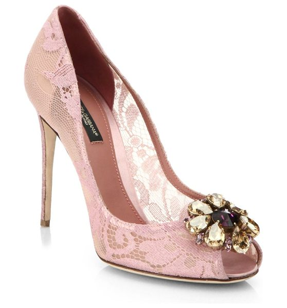 Dolce & Gabbana Embellished lace peep-toe pumps in pink - Delicate lace and jewel embellishments lend ladylike...