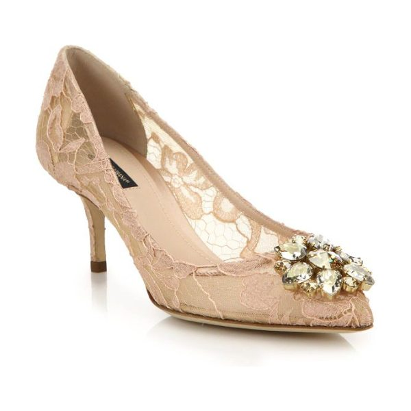 Dolce & Gabbana embellished lace point toe pumps in apricot - A jeweled flower glistens on this romantic lace pump set...