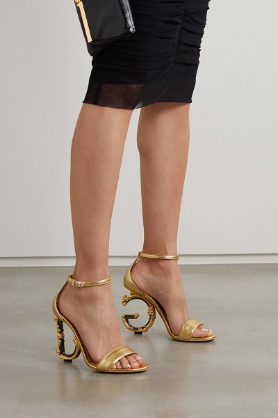 Dolce & Gabbana embellished leather sandals in gold