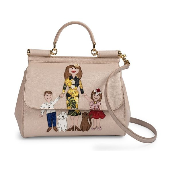 DOLCE & GABBANA Family medium leather satchel - Cheeky family drawing adorns ladylike satchel. Top...