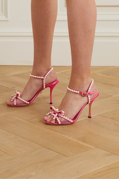 Dolce & Gabbana faux pearl-embellished mesh-trimmed satin sandals in pink