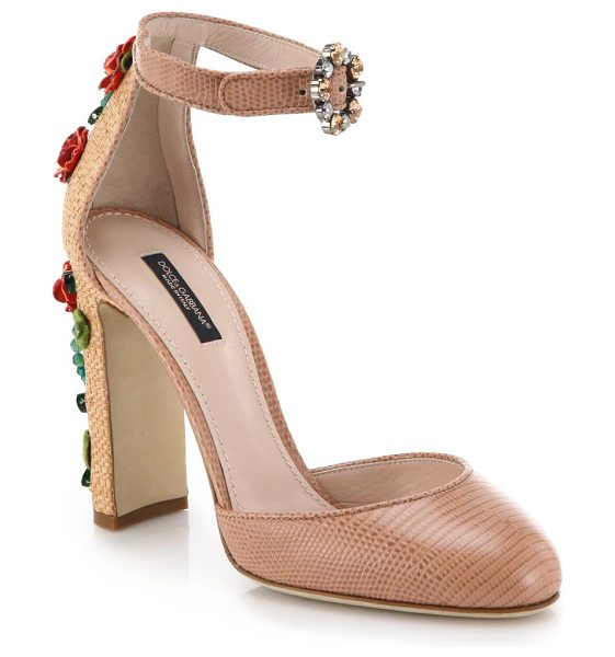 Dolce & Gabbana Floral-embellished raffia & lizard-embossed leather sandals in pink - Capturing a whimsical sense of garden-party glamour, a...