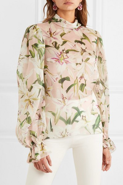Dolce & Gabbana floral-print silk-organza blouse in pink