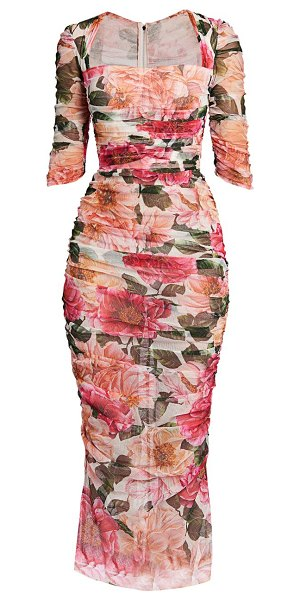 Dolce & Gabbana floral tulle ruched midi dress in pink
