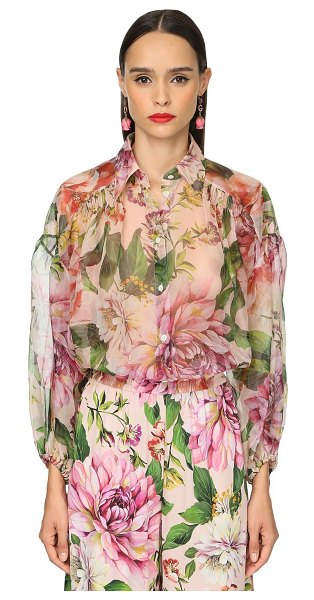 Dolce & Gabbana Flower print silk organza sheer shirt in pink,multi