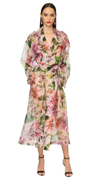 Dolce & Gabbana Flower print silk organza trench coat in pink,multi
