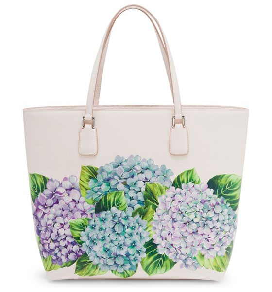 Dolce & Gabbana hydrangea-print leather tote in cream - Painterly hydrangea motif enlivens grained leather tote....
