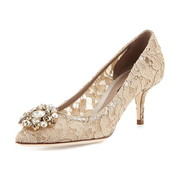 """DOLCE & GABBANA Jewel-Embellished Lace Pump in sabbia - Dolce & Gabbana lace pump. 2.5"""" covered heel. Pointed..."""
