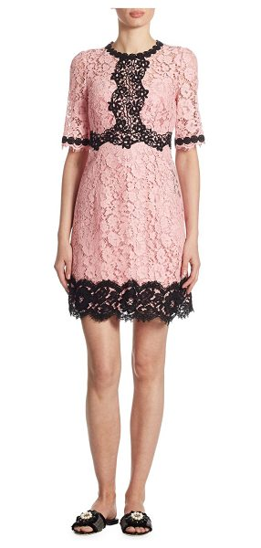 Dolce & Gabbana lace flare dress in pink - Floral lace dress with chic contrast trim. Roundneck....