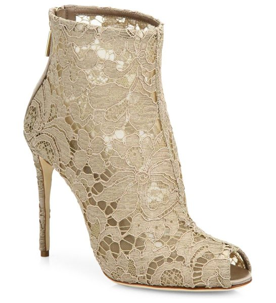 DOLCE & GABBANA lace peep toe bootie in beige - Elegant lace defines luxe peep-toe bootie. Self-covered...