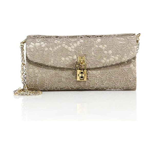 Dolce & Gabbana lace pouchette chain clutch in sand - Lace clutch with beaded chain strap and padlock detail....