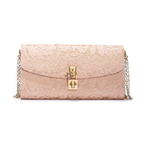 Dolce & Gabbana Lace pouchette clutch in beige - A starry crystal flower details the logo-etched padlock...
