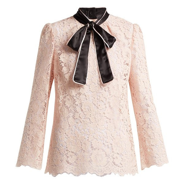 Dolce & Gabbana Lace Satin Neck Tie Blouse in light pink - Dolce & Gabbana - This light-pink lace blouse epitomises...