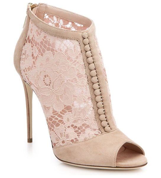 Dolce & Gabbana Lace & suede open-toe booties in blush - Step into Dolce & Gabbana's signature high-fashion...