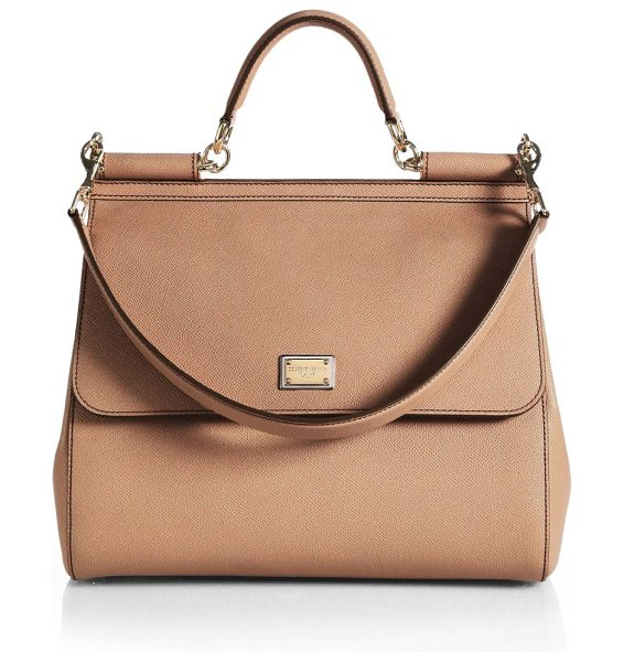 Dolce & Gabbana large sicily leather top handle satchel in cipria - Simple yet sophisticated, this top-handle Sicily is cut...