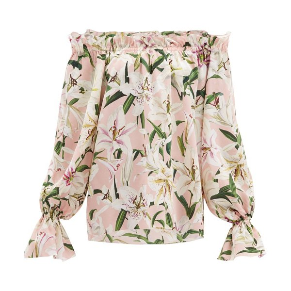 Dolce & Gabbana lily-print off-the-shoulder silk top in pink multi