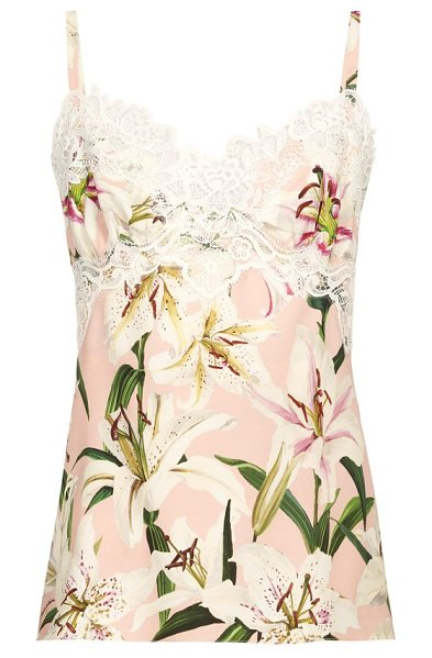 Dolce & Gabbana lily print lace trim silk charmeuse cami top in pink multi
