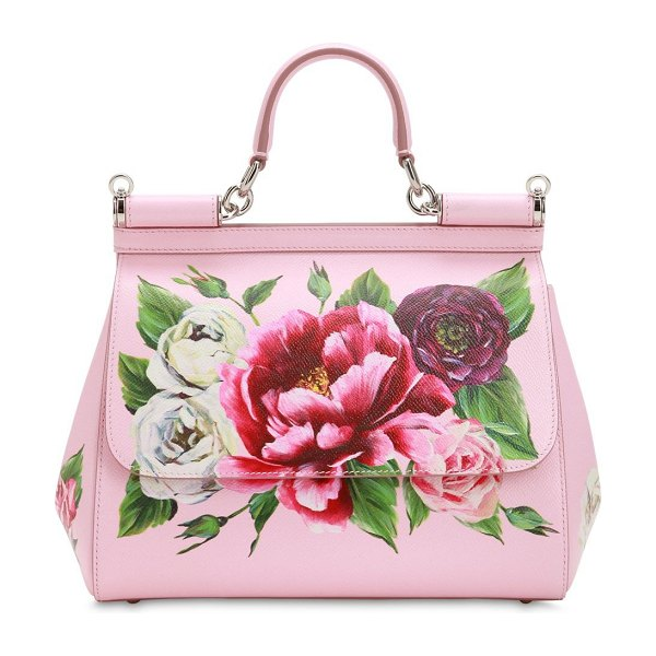 Dolce & Gabbana Medium sicily floral printed leather bag in pink - Height: 21cm Width: 26cm Depth: 12cm. Detachable,...