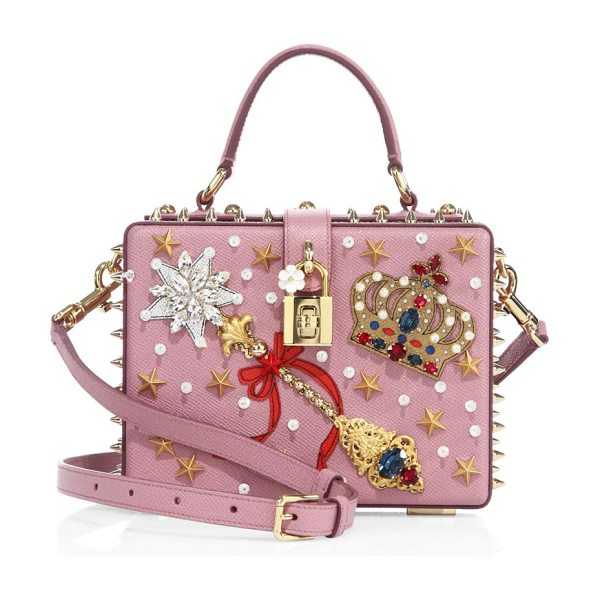 Dolce & Gabbana miss dolce crown-embellished leather top-handle bag in pink - Boxy star-studded leather bag with regal embellishment....