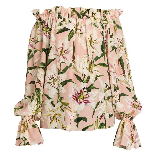 Dolce & Gabbana off-the-shoulder lily print silk blouse in pink base lily