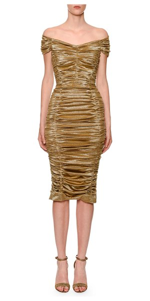 Dolce & Gabbana Off-The-Shoulder Ruched Metallic Satin Dress in gold
